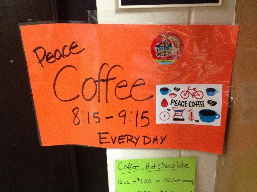 peace coffee sign